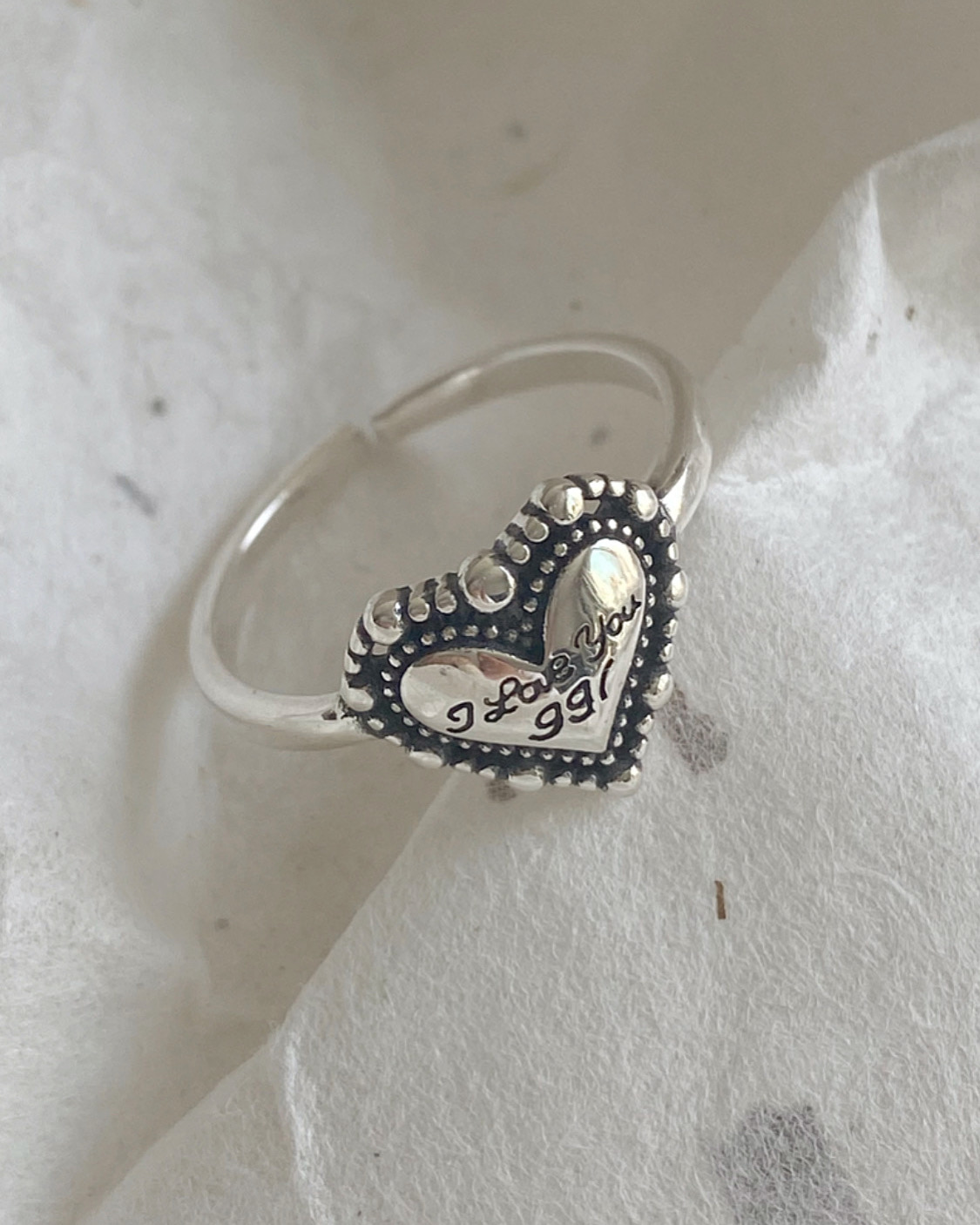 [92.5 silver] lettering heart ring