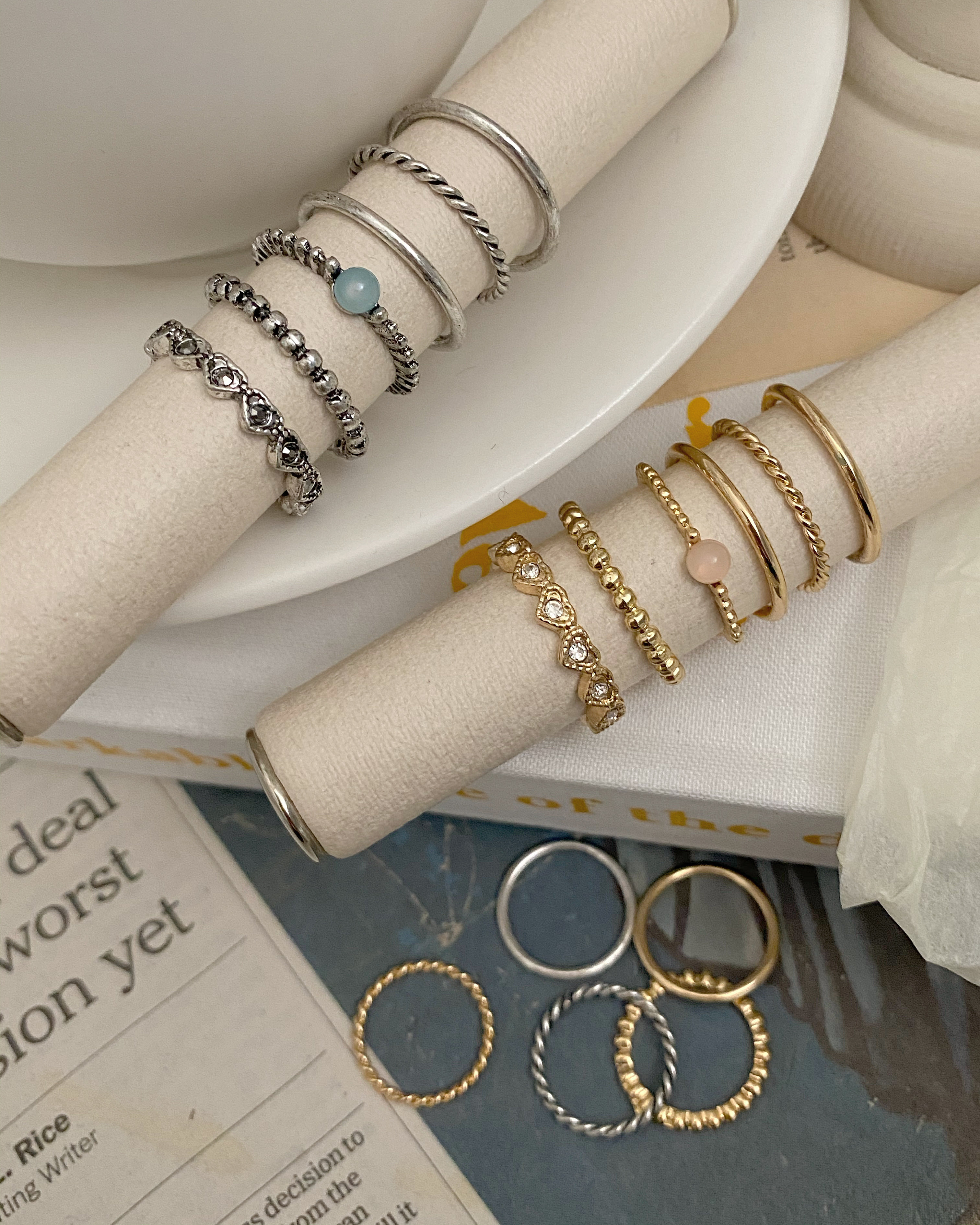 [9ps] antique vely ring set (2 color)