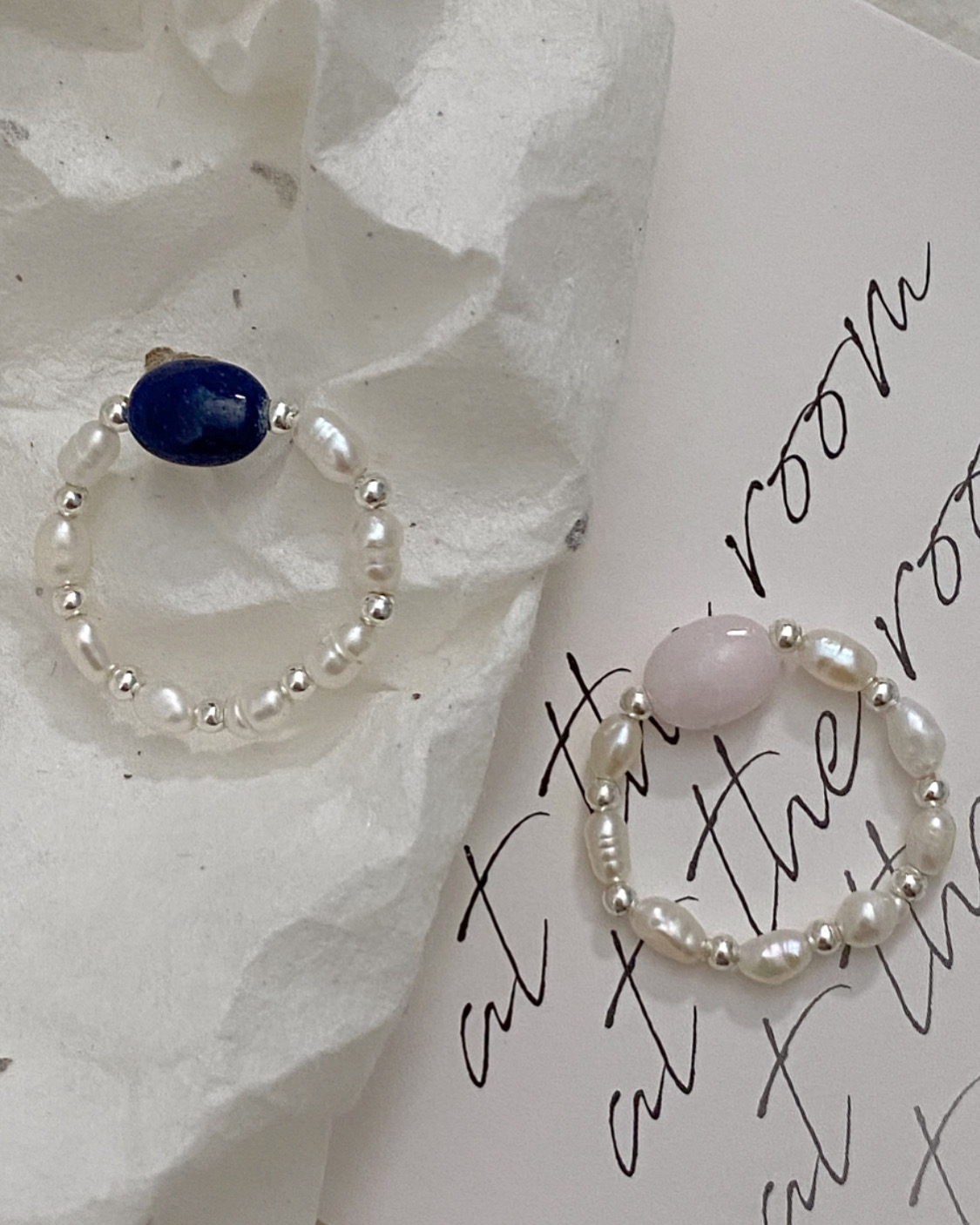 [92.5 silver,담수진주] pebble gem beads ring (3 color)