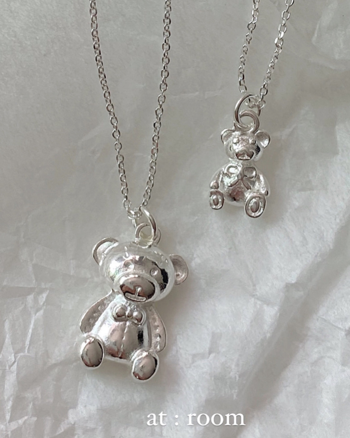[92.5 silver] ribbon bear necklace (2type)