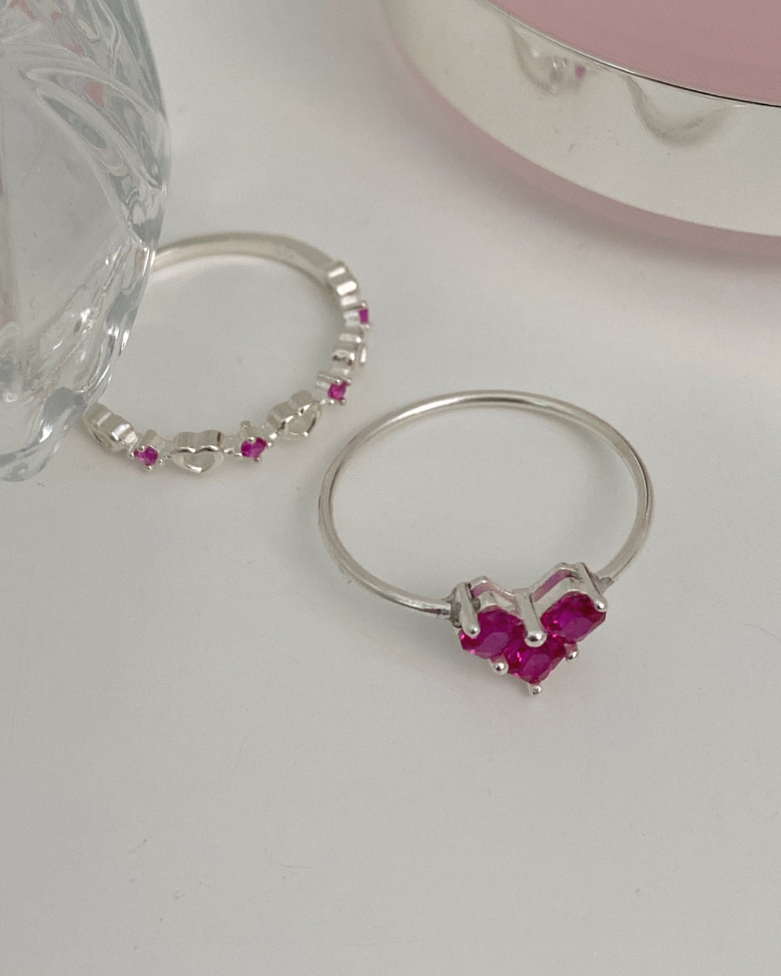 [92.5 silver] ruby heart ring