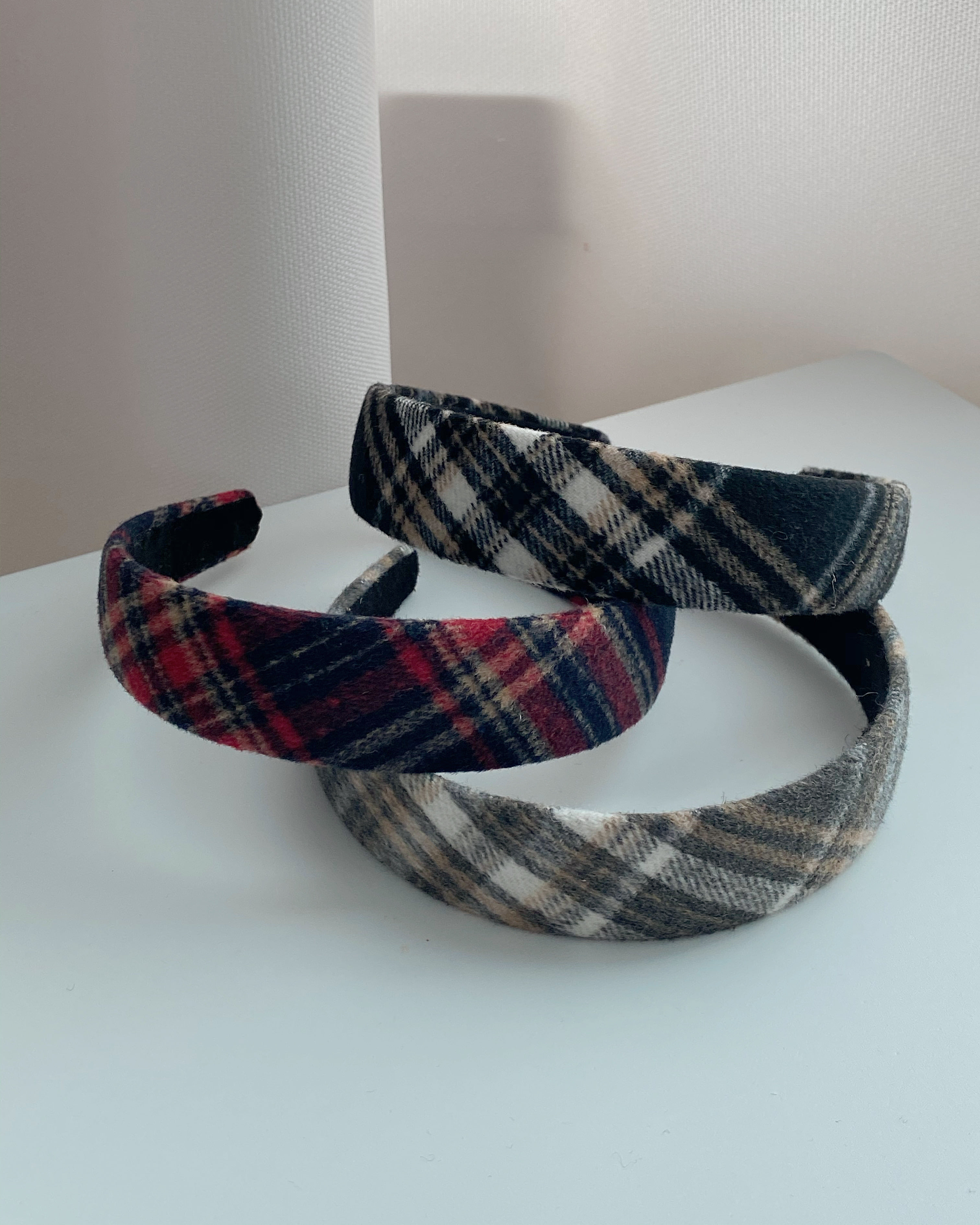wool merry check hair-band (3 color)